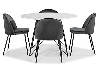 Ruokailuryhmä Aten 110 cm Pyöreä Marmori + 4 Gerardo tuolia