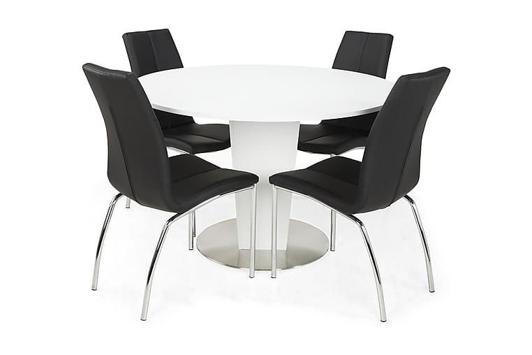 Ruokailuryhmä Blocco 120 cm Valkoinen/musta - 4 Dion tuolia - Huonekalut - Ruokailuryhmät - Pyöreä ruokailuryhmä