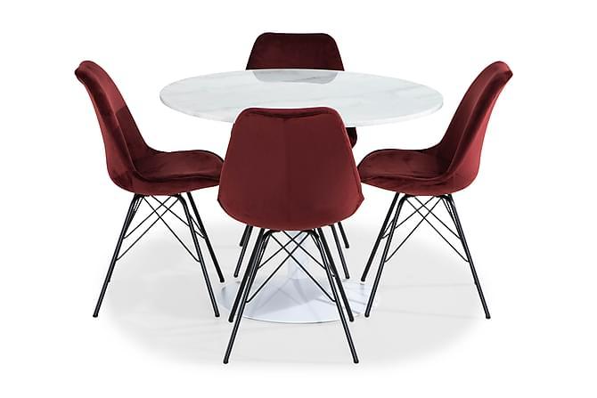 Ruokailuryhmä Justine 100 cm Pyör Marmori 4 Scale tuolia Sam - Valkoinen/Punainen - Huonekalut - Ruokailuryhmät - Pyöreä ruokailuryhmä