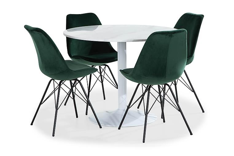 Ruokailuryhmä Justine 100 cm Pyör Marmori 4 Scale tuolia Sam - Valkoinen/Vihreä - Huonekalut - Ruokailuryhmät - Pyöreä ruokailuryhmä