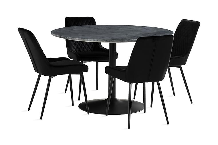 Ruokailuryhmä Justine 120 cm Pyöreä Marmori 4 Allavare Tuoli - Musta/Harmaa - Huonekalut - Ruokailuryhmät - Pyöreä ruokailuryhmä