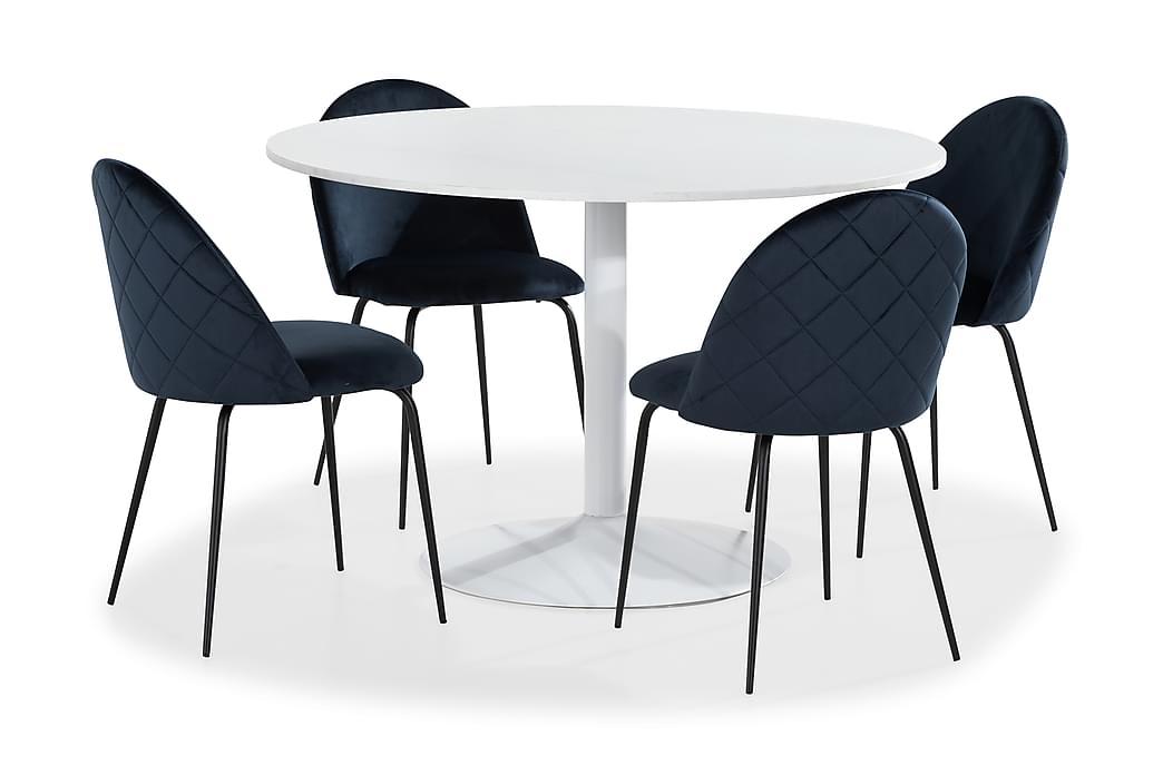 Ruokailuryhmä Justine 4 Safia tuolia Sametti - Valkoinen - Huonekalut - Ruokailuryhmät - Pyöreä ruokailuryhmä