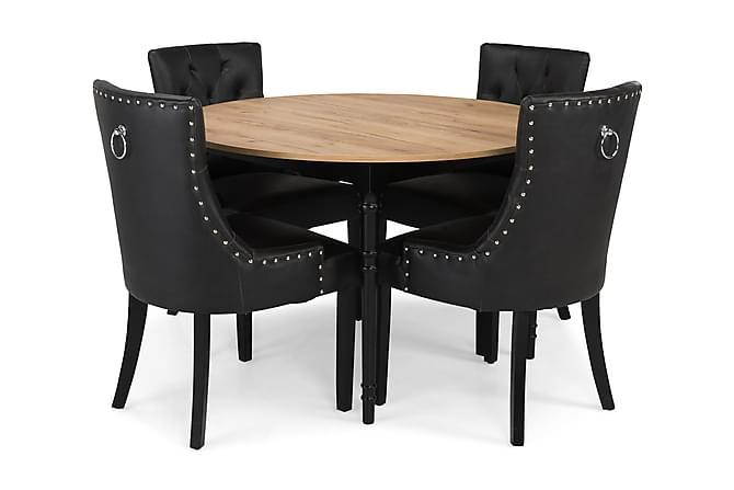 Ruokailuryhmä Milton Jatkettava 115 cm Pyöreä +4 tuolia Tuva - Tammi/Musta - Huonekalut - Ruokailuryhmät - Pyöreä ruokailuryhmä