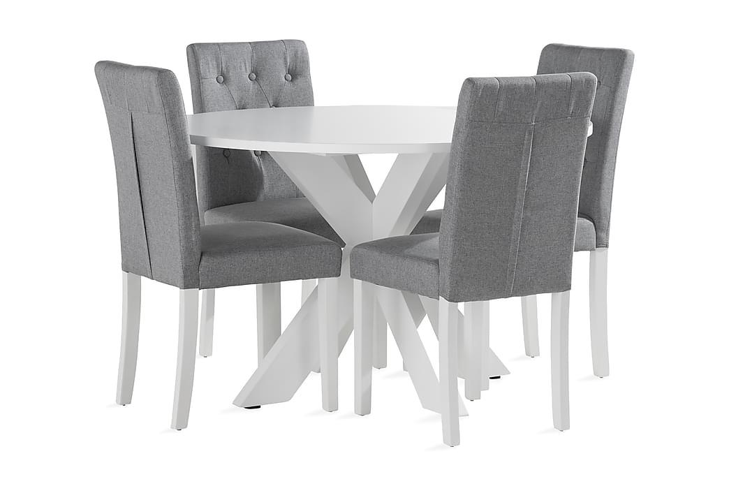 Ruokailuryhmä Redex 120 cm Pyöreä 4 Sonnarp tuolia - Valkoinen - Huonekalut - Ruokailuryhmät - Pyöreä ruokailuryhmä