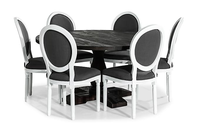 Ruokailuryhmä Suzon Pyöreä 150 cm + 6 Wisle tuolia - Vintage Jalava/Harmaa - Huonekalut - Ruokailuryhmät - Pyöreä ruokailuryhmä