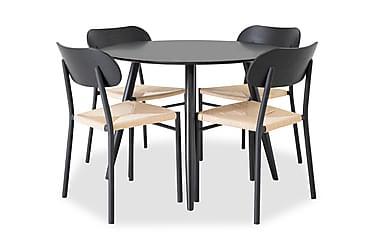 Ruokailuryhmä Trym 100 cm Pyöreä 4 Hubert tuolilla