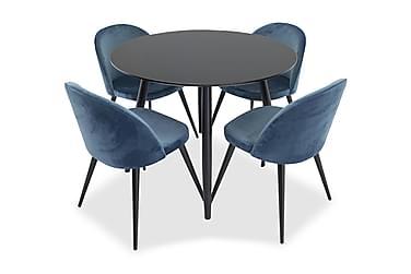Ruokailuryhmä Trym 100 cm Pyöreä 4 Luisa tuolia
