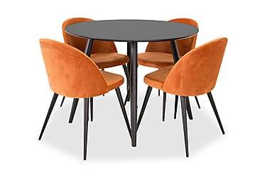 Ruokailuryhmä Trym 100 cm Pyöreä 4 Luisa tuolilla
