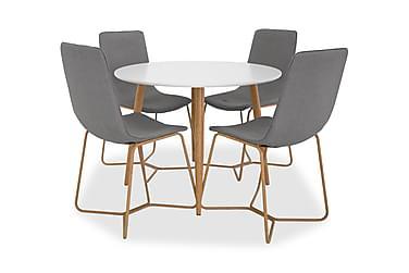 Ruokailuryhmä Trym 100 cm Pyöreä 4 Theresa tuolilla