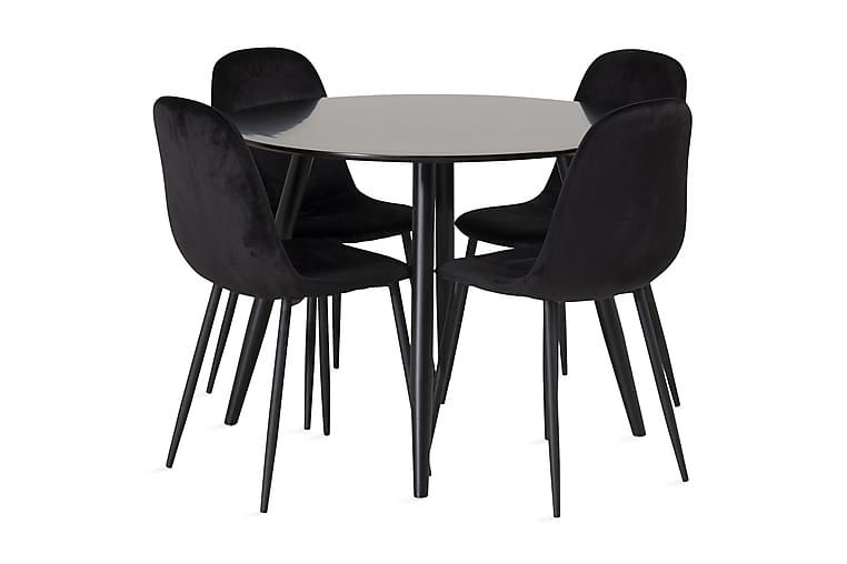 Ruokailuryhmä Trym 100 cm Pyöreä 4 Tommy Keittiötuolia - Musta - Huonekalut - Ruokailuryhmät - Pyöreä ruokailuryhmä