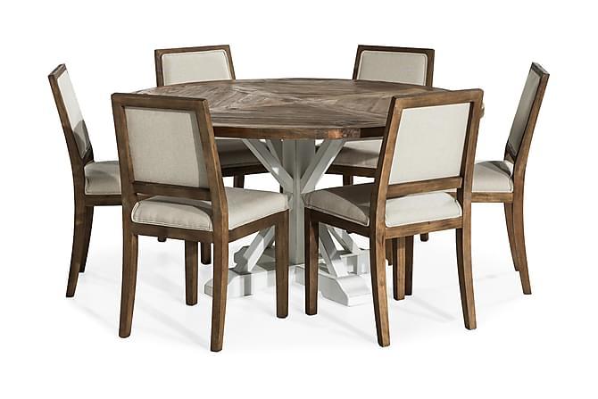 Ruokailuryhmä Yorkshire 150 cm Pyöreä + 6 Frendy tuolia - Valkoinen/Beige - Huonekalut - Ruokailuryhmät - Pyöreä ruokailuryhmä