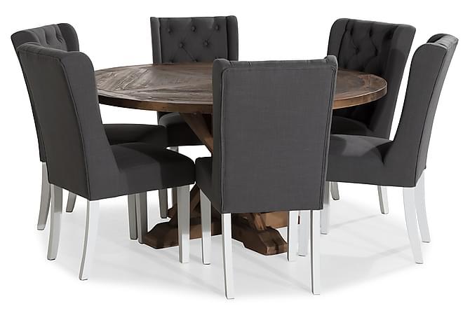 Ruokailuryhmä Yorkshire 150 cm Pyöreä + 6 Isolde tuolia - Vintage Jalava/Valk/Harmaa - Huonekalut - Ruokailuryhmät - Pyöreä ruokailuryhmä