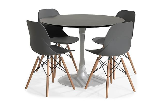 Severo Ruokailuryhmä 100 cm Pyöreä 4 Rana tuolilla - Valkoinen/Harmaa/Puu - Huonekalut - Ruokailuryhmät - Pyöreä ruokailuryhmä