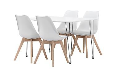 KRONBERG Pöytä 120 Valk + 4 PEACE Valkoinen/tammi