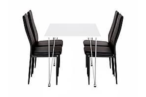 KRONBERG Pöytä 120 Valk Kiiltävä + 4 GRANÅN tuolia Musta