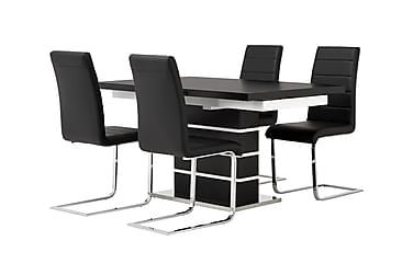 SUNNE Pöytä 140 Musta/valk + 4 EMÅN tuolia Musta