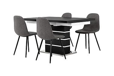 SUNNE Pöytä 140 Musta/valk + 4 FREDAN tuolia Harmaa