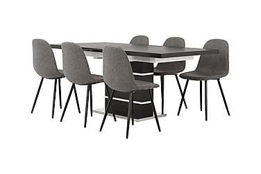 SUNNE Pöytä 140 Musta/valk + 6 FREDAN tuolia Harmaa