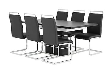 SUNNE Pöytä 140 Musta/valk + 6 Robledo tuolia Musta