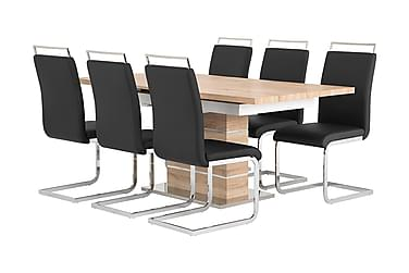 SUNNE Pöytä 140 Tammi/valk + 6 GANNAN tuolia Musta