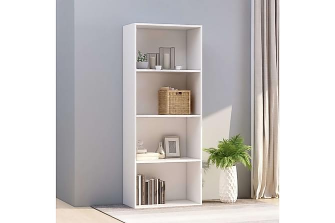 4-tasoinen kirjahylly valkoinen 60x30x151,5 cm lastulevy - Valkoinen - Huonekalut - Säilytys - Hyllyt