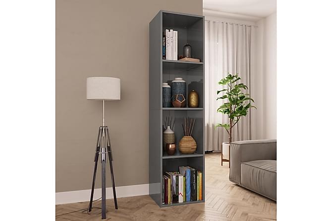 Kirjakaappi/TV-kaappi korkeakiilto harmaa 36x30x143cm - Harmaa - Huonekalut - Säilytys - Hyllyt