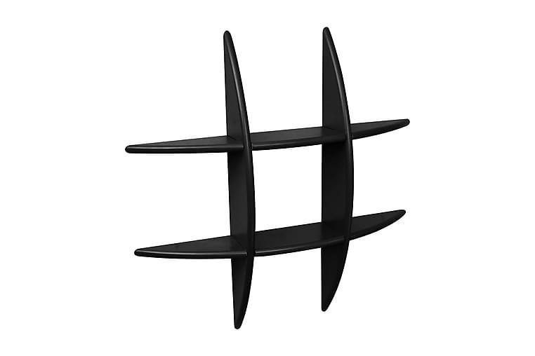 Musta MDF Seinähylly Kirjoille/DVD Säilytykseen - Musta - Huonekalut - Säilytys - Hyllyt