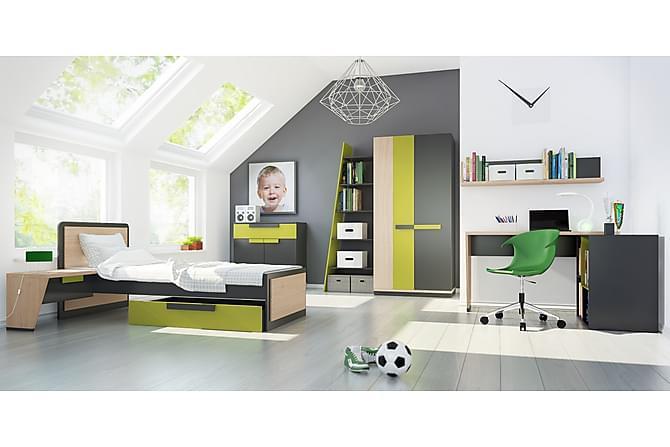 Seinähylly Lexy 130 cm - Harmaa/Tammi/Limenvihreä - Huonekalut - Säilytys - Hyllyt