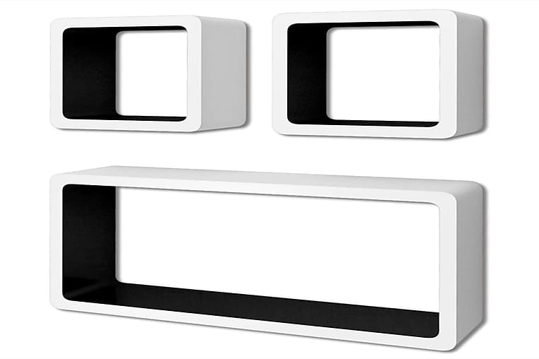 Seinähyllyt 6 kpl kuutio valkoinen ja musta - Musta - Huonekalut - Säilytys - Hyllyt