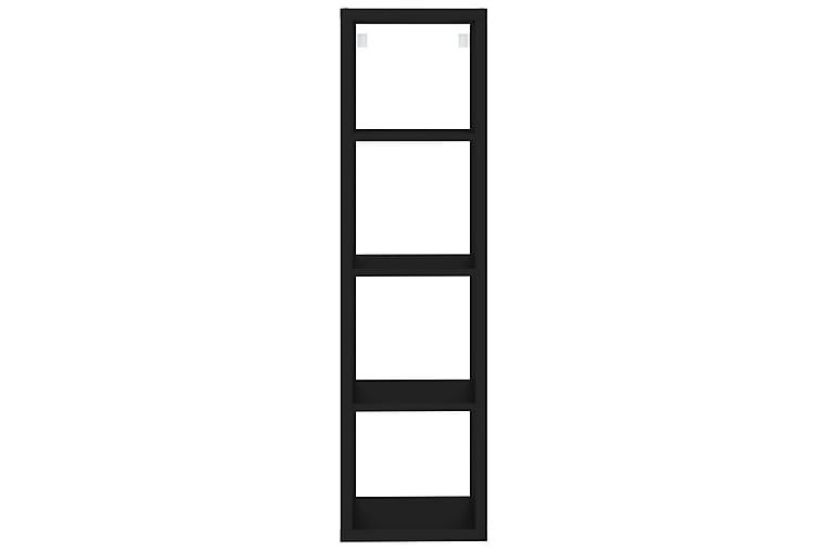 Seinäkuutiohylly musta 37x29,5x134,5 cm MDF - Musta - Huonekalut - Säilytys - Hyllyt
