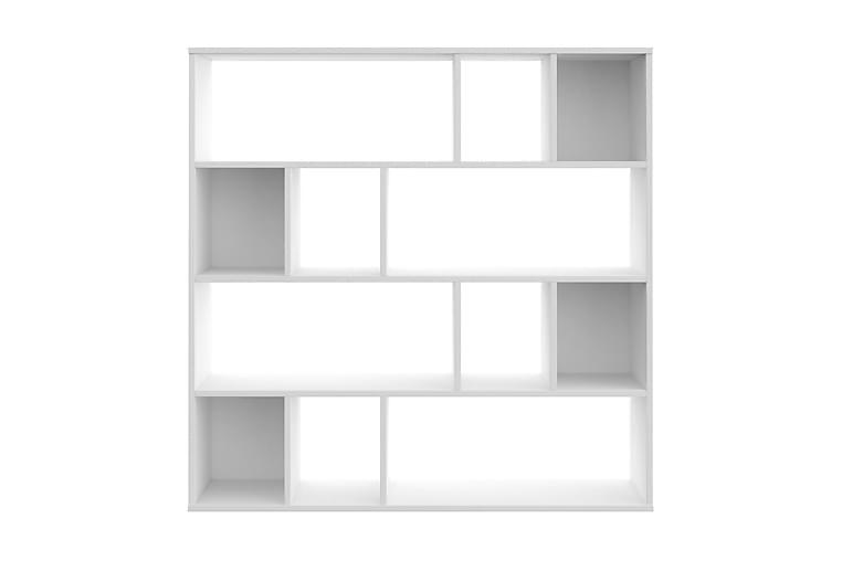 Tilanjakaja/kirjahylly valkoinen 110x24x110 cm lastulevy - Valkoinen - Huonekalut - Säilytys - Hyllyt