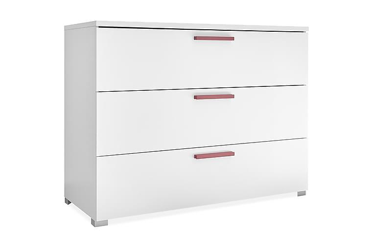 Lipasto Latour 104 cm 3 laatikkoa - Valkoinen/Punainen - Huonekalut - Säilytys - Lipastot