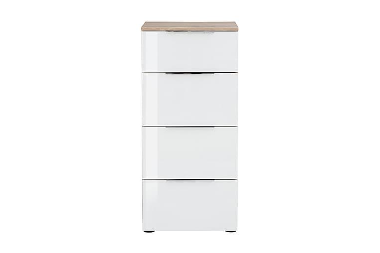 Lipasto Monreal 45x40 cm 4 laatikkoa - Vaaleanruskea/Valkoinen lasi - Huonekalut - Säilytys - Lipastot