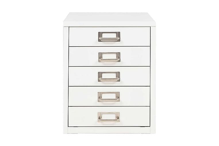 Arkistokaappi 5 vetolaatikolla metalli 28x35x35 cm valkoinen - Valkoinen - Huonekalut - Säilytys - Säilytyskaapit