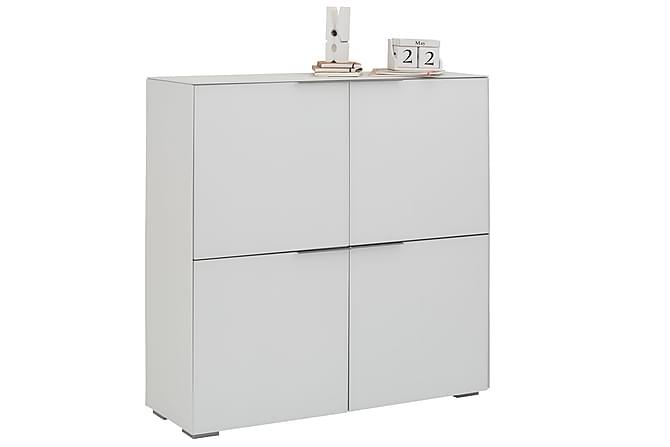 Kaappi Burbach 111,8 cm 4 ovea - Valkoinen Matta Lasi - Huonekalut - Säilytys - Säilytyskaapit