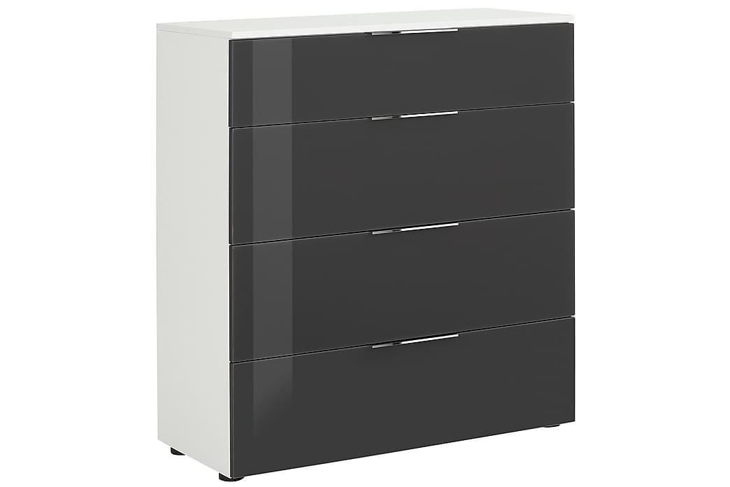 Lipasto Monreal 90,2x99,8 cm 4 laatikkoa - Valkoinen/Tummanharmaa Lasi - Huonekalut - Säilytys - Säilytyskaapit