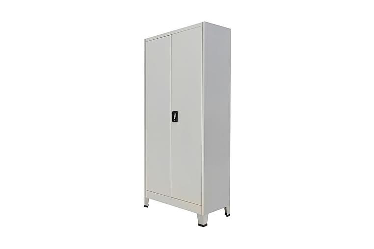 Toimistokaappi 2 ovella Teräs 90x40x180 cm Harmaa - Harmaa - Huonekalut - Säilytys - Säilytyskaapit