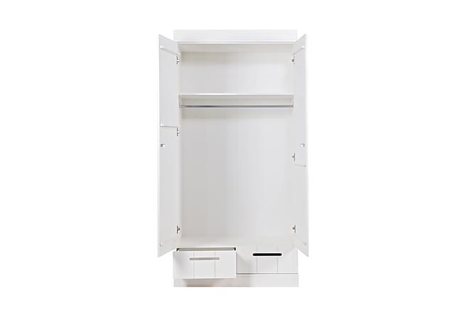 Vaatekaappi Floella 94 cm 2 ovea 2 laatikkoa Pinna - Valkoinen Mänty - Huonekalut - Säilytys - Säilytyskaapit