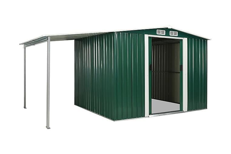 Puutarhavaja liukuovilla vihreä 386x205x178 cm teräs - Vihreä - Piha - Ulkosäilytys - Varastot