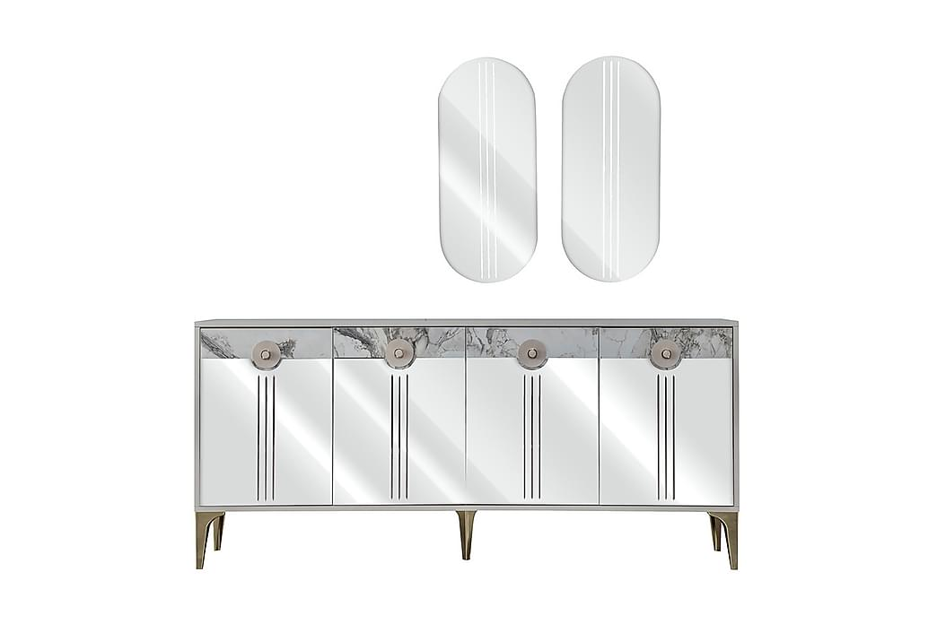 Senkki Cinarli 180x46 cm peilillä - Valkoinen/harmaa/hopea - Huonekalut - Säilytys - Senkit