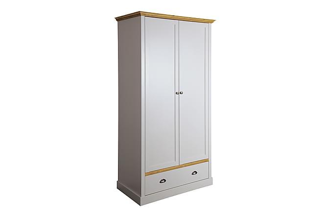 Vaatekaappi Angelo 104 cm - Valkoinen/L.väri - Huonekalut - Säilytys - Vaatekaapit