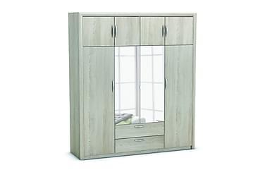 Vaatekaappi Atossa 198 cm 4+4 ovea Peiliä 2 laatikkoa
