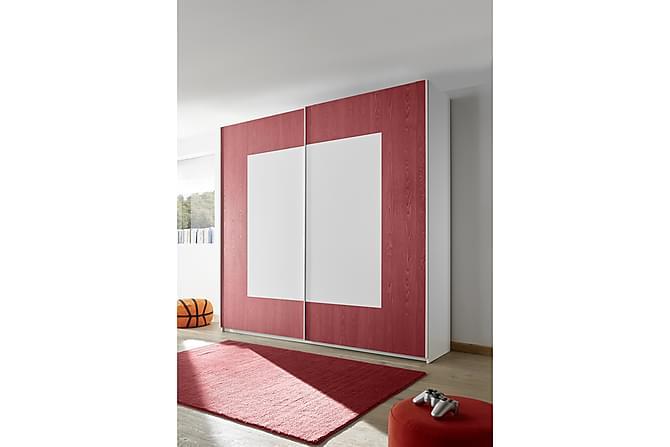 Vaatekaappi Latour 243 cm Liukuovi Neliökuvio - Valkoinen/Punainen - Huonekalut - Säilytys - Vaatekaapit