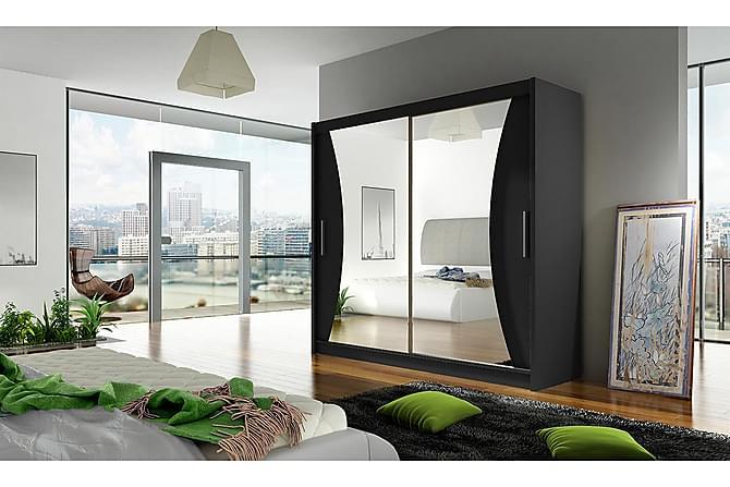 Vaatekaappi London 180 cm liukuovet Kaareva Peili - Musta - Huonekalut - Säilytys - Vaatekaapit