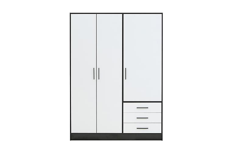 Vaatekaappi Lyoth 145 cm - Musta/Valkoinen - Huonekalut - Säilytys - Vaatekaapit