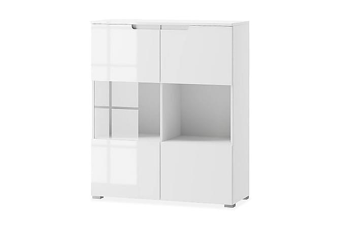 Vitriinikaappi Aydan 100 cm 2 ovea - Valkoinen/Valk Korkeakiilto - Huonekalut - Säilytys - Vitriinit