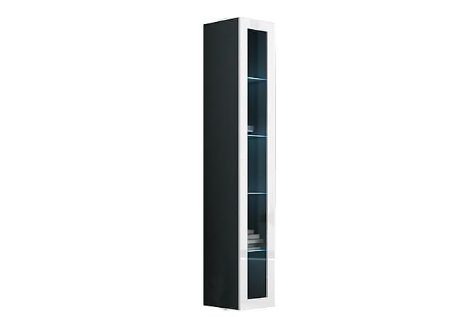 Vitriinikaappi Vigo 40x30x180 cm - Musta/Valkoinen - Huonekalut - Säilytys - Vitriinit