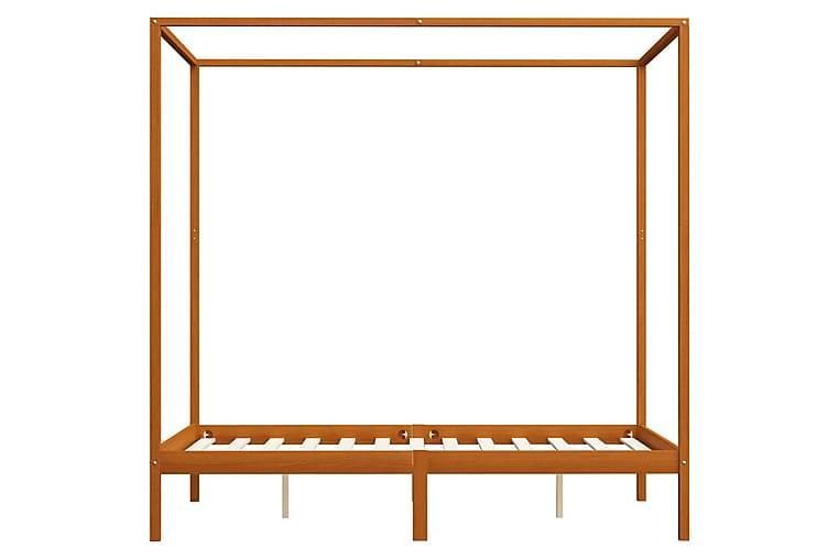 Pylvässänky 2 vetolaatikolla täysi mänty 120x200 cm - Ruskea - Huonekalut - Sängyt - Katossängyt