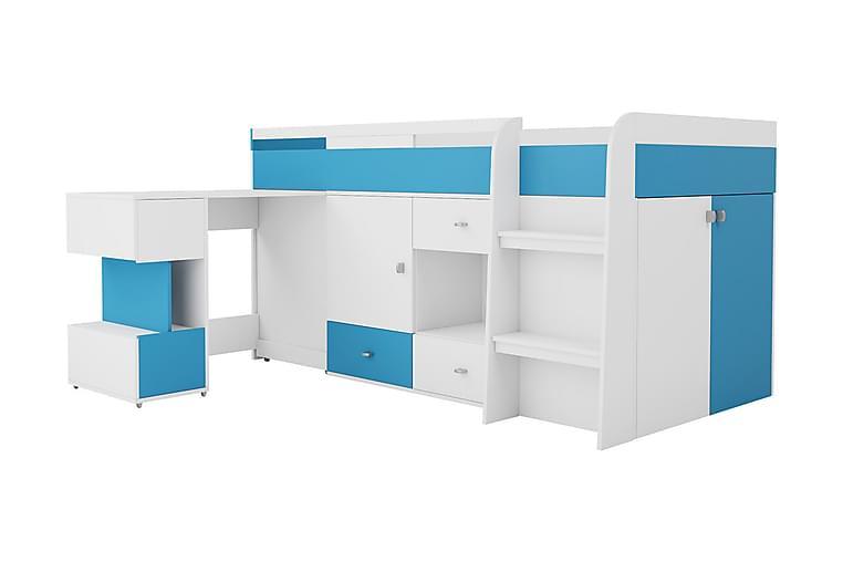 Parvisänky Ridino 116x205 cm + Kirjoituspöytä - Valkoinen/Sininen/Vihreä - Huonekalut - Sängyt - Kerrossängyt
