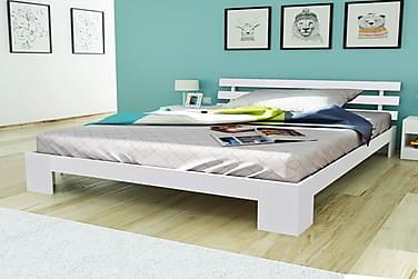Sängynrunko täysi mänty valkoinen 140x200 cm